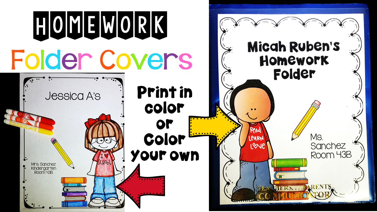 Editable Homework Covers perfect for clear pocket folders or binders.