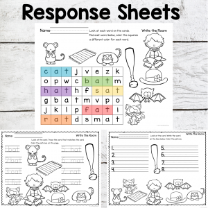 at word family Response Sheets